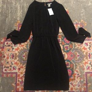 Long sleeve gold button black dress size 2 H&M NWT